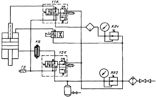 Принципиальная пневматическая схема контактной машины